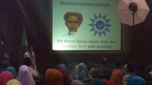 Bupati Kudus, H Musthofa saat mengisi acara pada pelantikan pengurus Saudagar Muhammadiyah Kota Semarang di Balaikota Semarang, Sabtu (18/2/2017) malam)